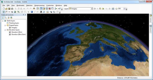 Vista espacial de ArcGlobe y la Tierra