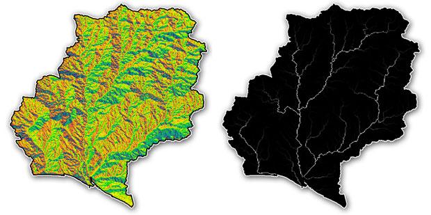 direccion acumulacion flujo red hidrologica
