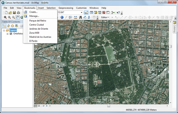 lista de bookmarks en ArcGIS