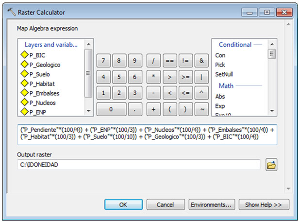 raster calculator aptitud territorial