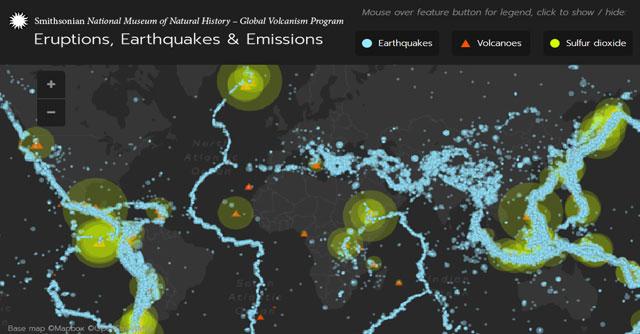 Cartografía de terremotos y vulcanismo