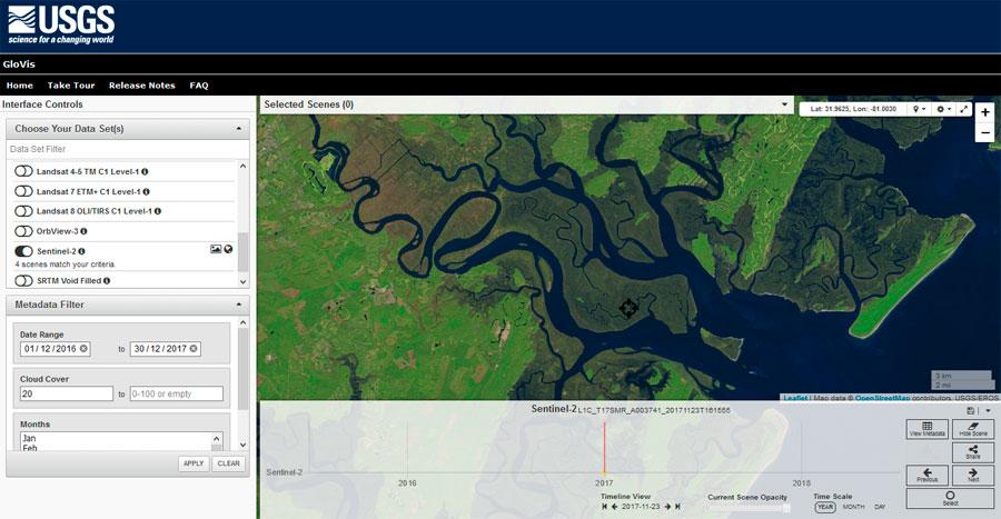 Cómo descargar imágenes satélitales de la USGS con GloVis