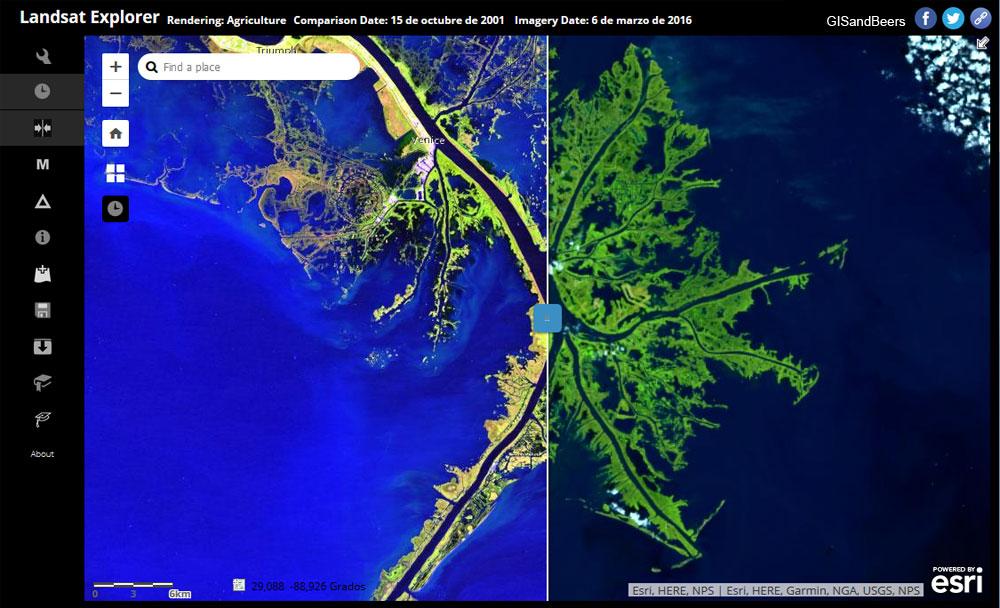 Bandas multiespectrales Landsat Explorer