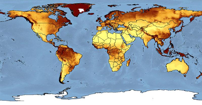 Cartografía para mapas de aridez mundial