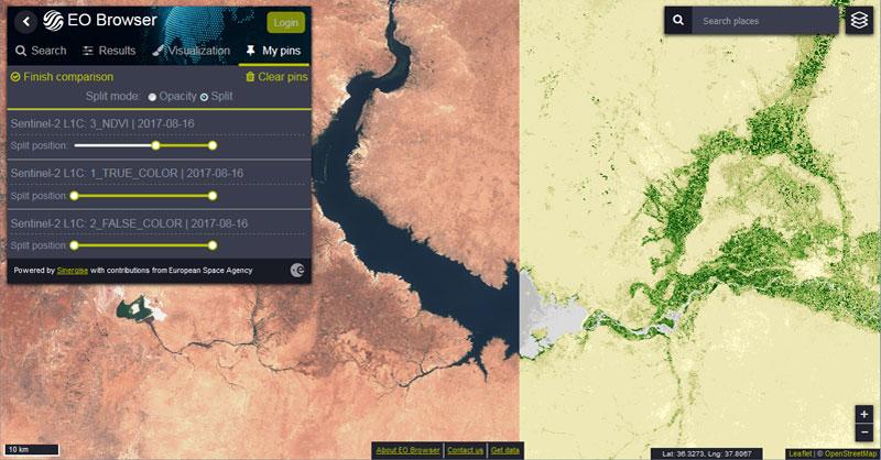 visor de imágenes satélite de Sentinel y Landsat