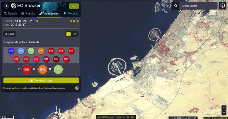 Imágenes satélite con EO Browser