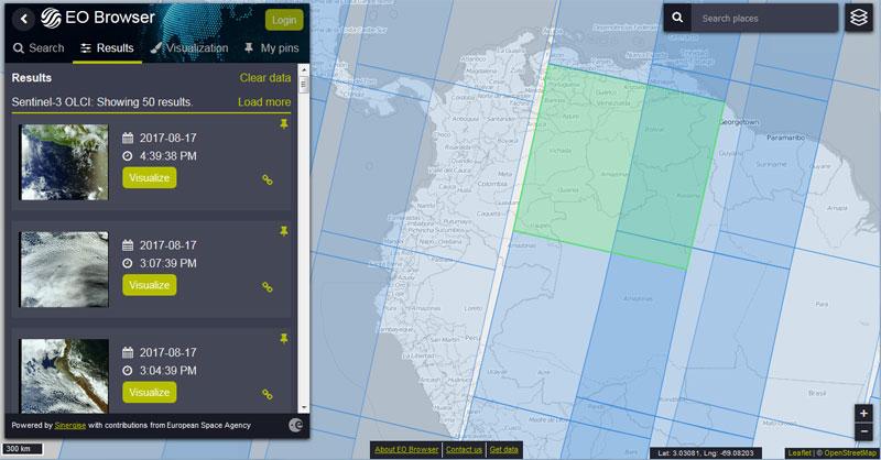 descarga de imágenes satélite con EO Browser