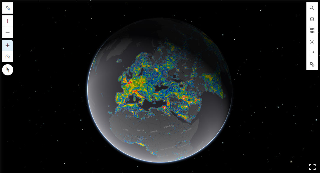 Mapa de polución nocturna de ESRI