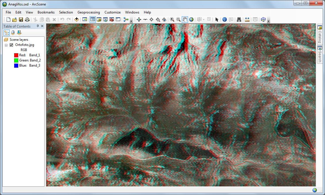 Visualización de mapas de anaglifos en ArcScene