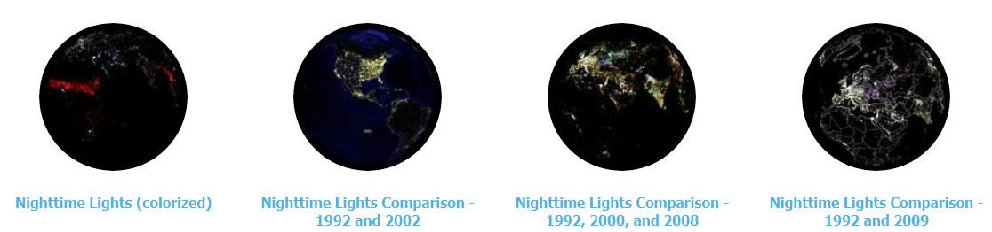Mapas nocturnos de luz de NOAA