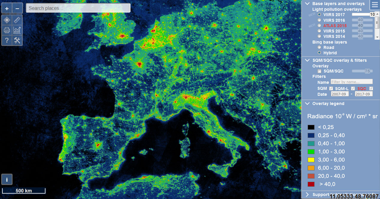 Polución lumínica en mapas con GIS