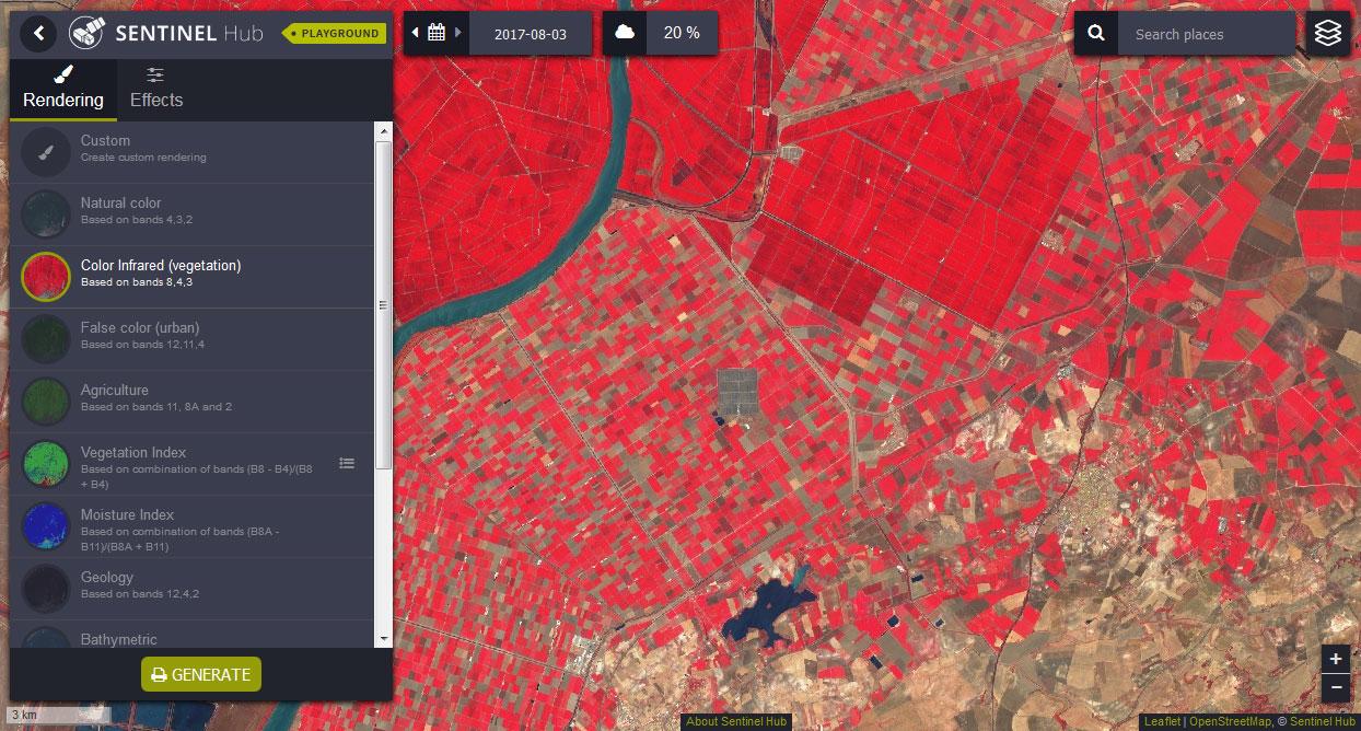 servicios WMS, WFS, WCS de imágenes satélite