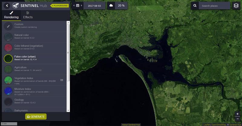 visor de imágenes satélite Sentinel Playground