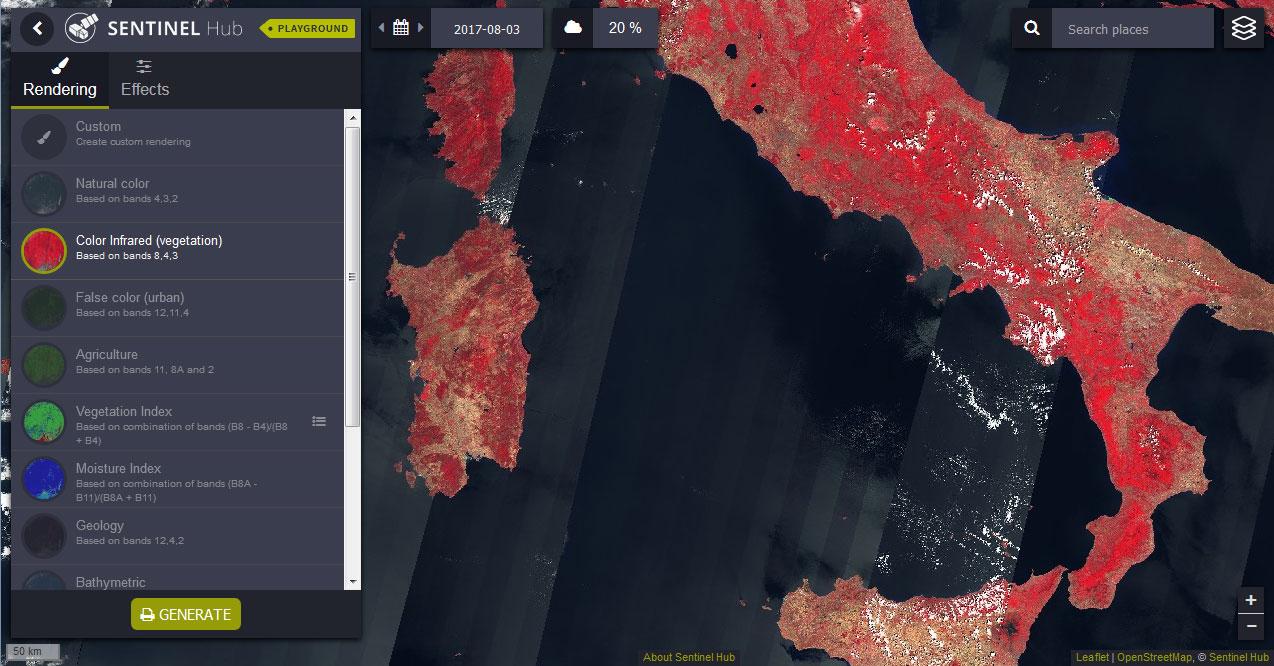 Sentinel Playground e imágenes satélite