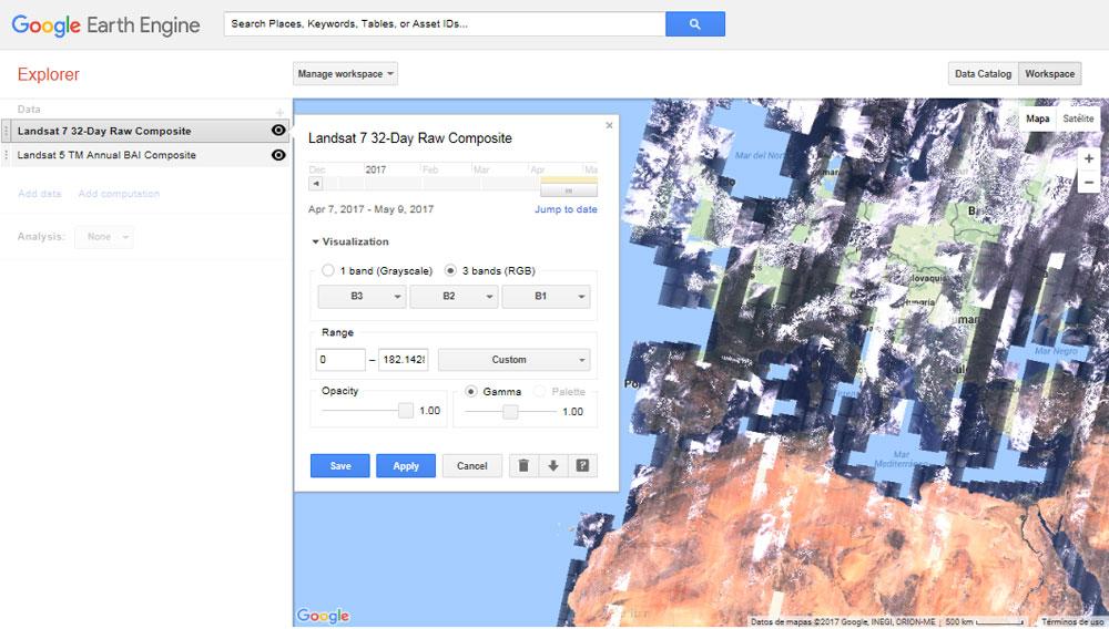 Editor de imágenes satélite de Google Earth Engine