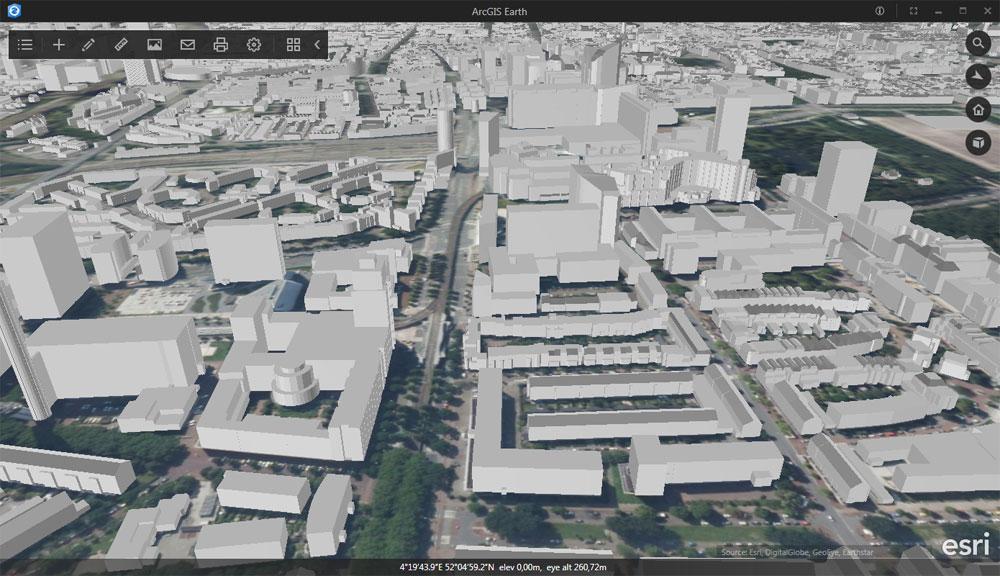 Vista 3D de ArcGIS Earth con extrusión de edificios