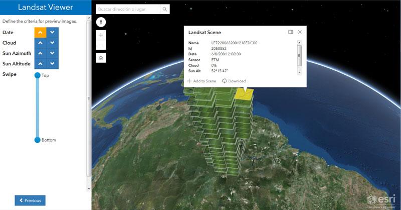 Descarga de imágenes satélite Landsat