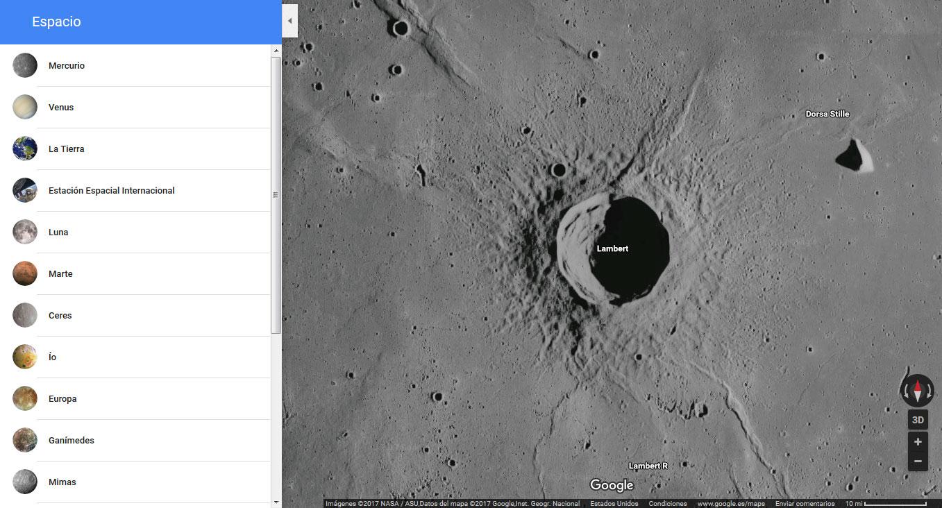 Mapas planetarios con el visor de Google
