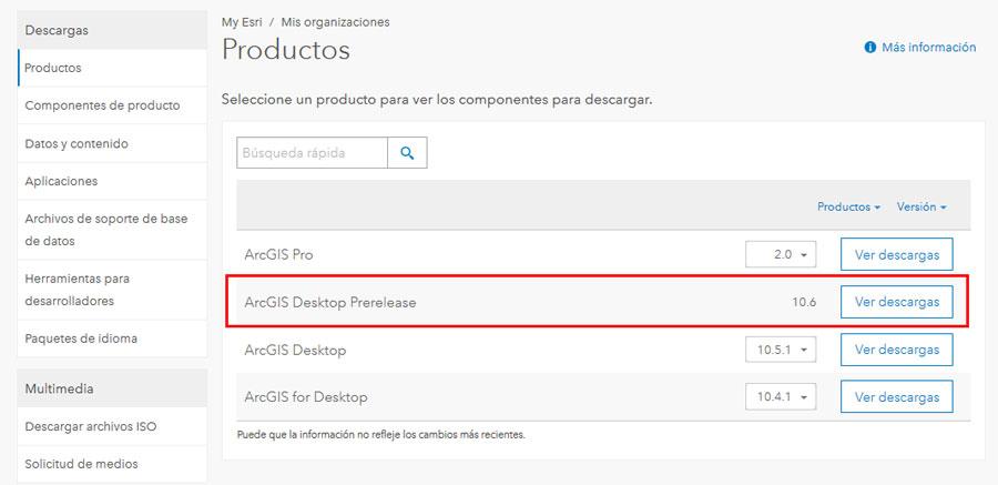 ArcGIS 10.6 descarga gratuita en My ESRI