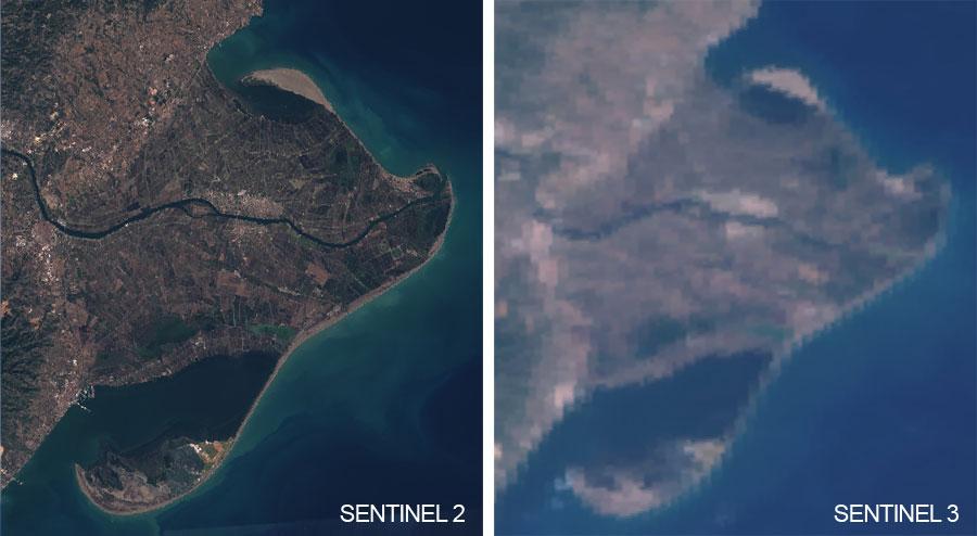 Resoluciones espaciales de Sentinel 2 y Sentinel 3