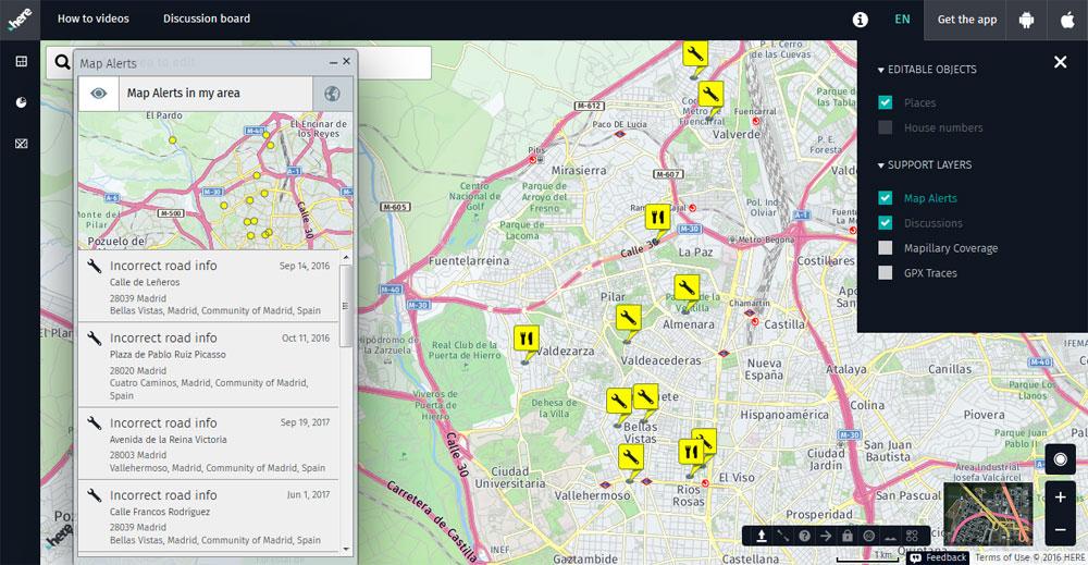 Avisos de edición del callejero Map Creator