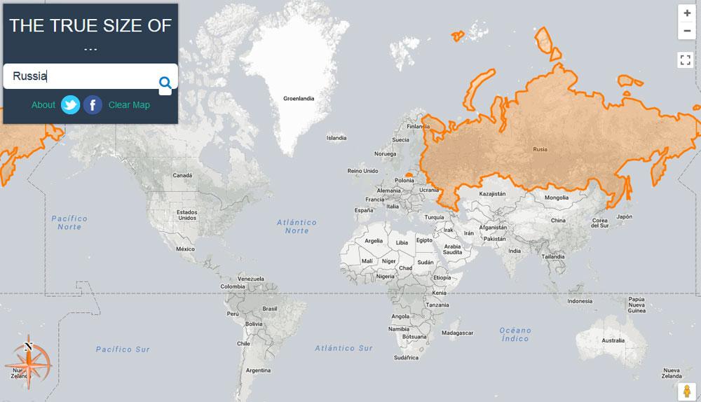 Comparativa del tamaño real de los países