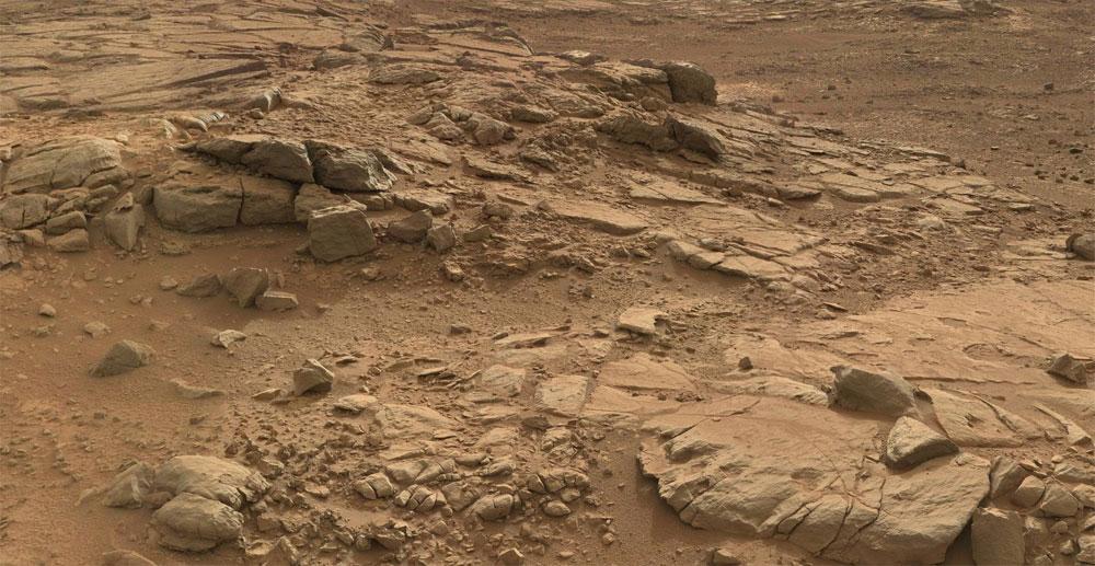 Detalle de la superficie marciana vista por la rover Curiosity