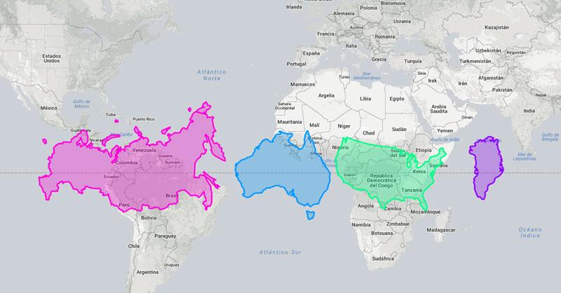 Cual es el tamaño real de los países y continentes
