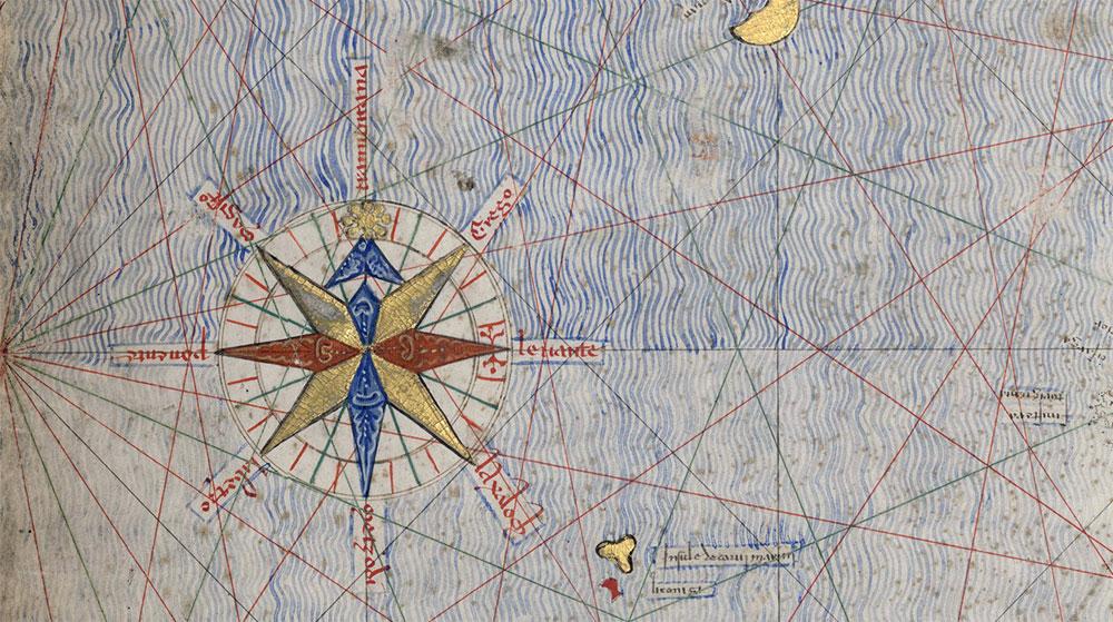 Dirección de los vientos del Atlas Catalán de Abraham Cresques y Jafuda Cresques