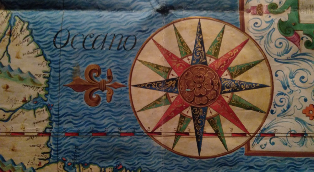 Rosa de los vientos en el mapa Piru Chile, de Lucas de Quirós