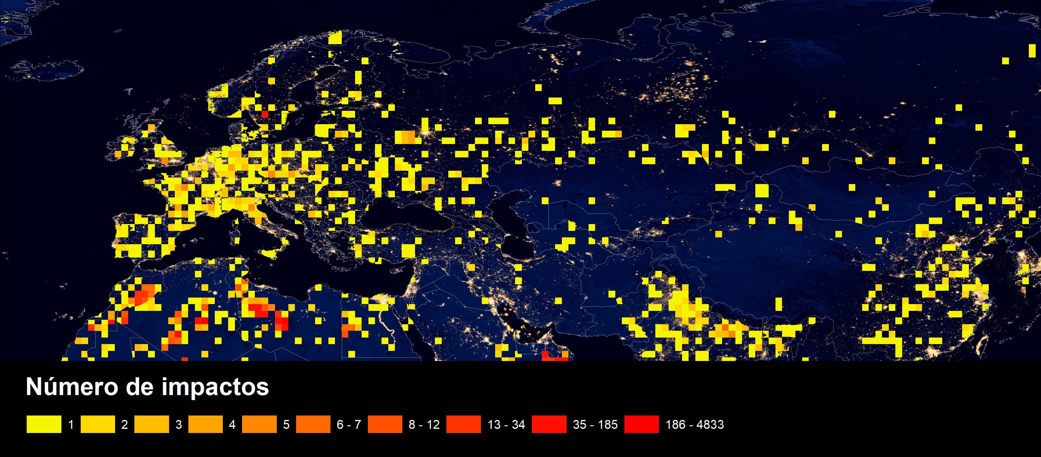 Mapa de impacto de meteoritos