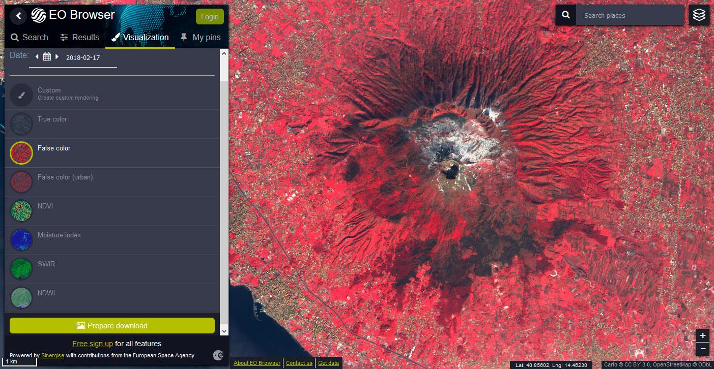 EO Browser: descarga de bandas satélite individuales, imágenes multiespectrales e indicadores