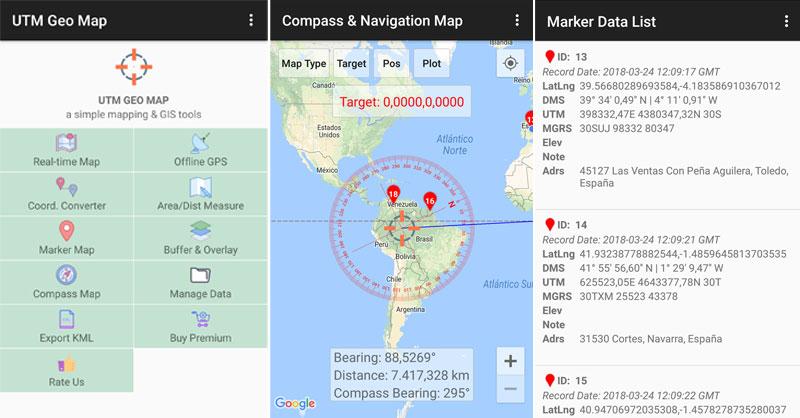 Geocoding, y conversor de coordenadas con la aplicación GPS UTM Geo Map