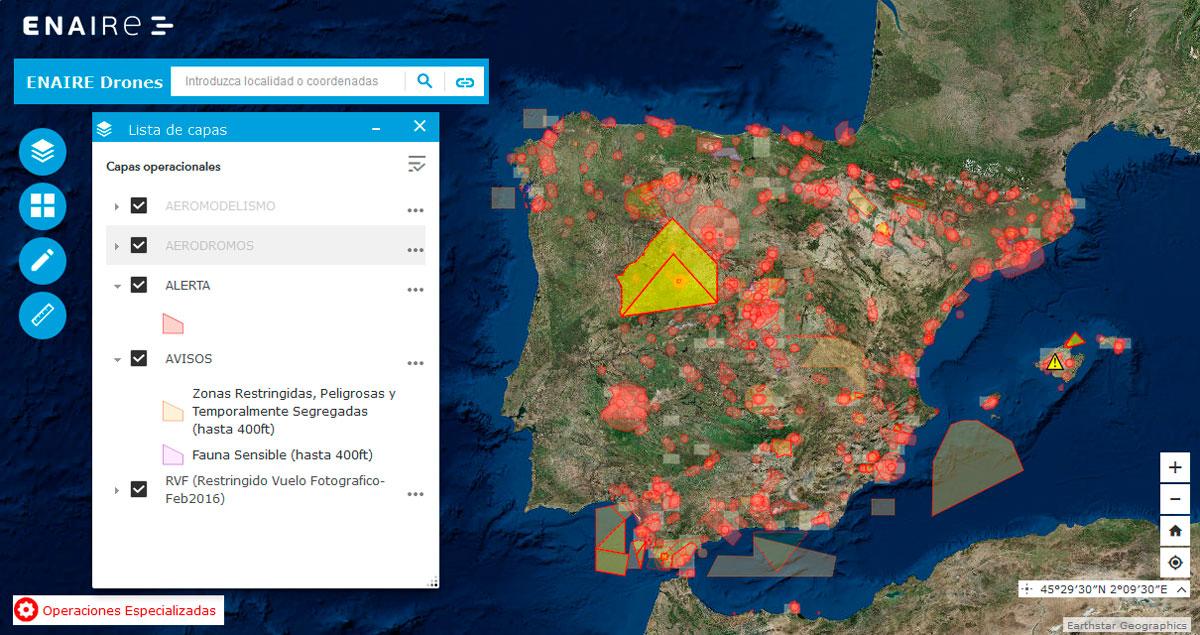 Visor cartográfico ENAIRE Drones
