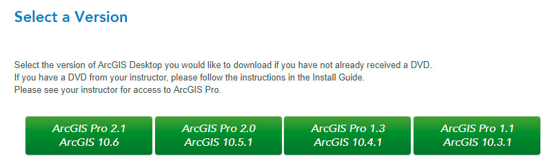 Selección de versiones de ArcGIS