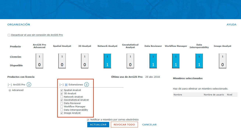 Activar extensiones de ArcGIS Pro desde ArcGIS Online