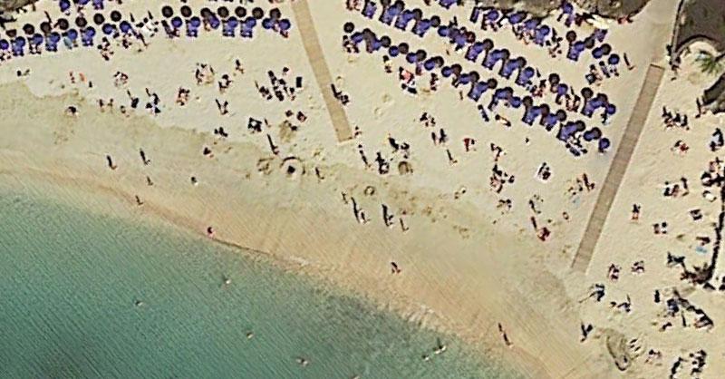 Playas nudistas a vista de imagen aérea con PNOA