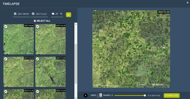 Cómo crear timelapses de imágenes satélite con EO Browser