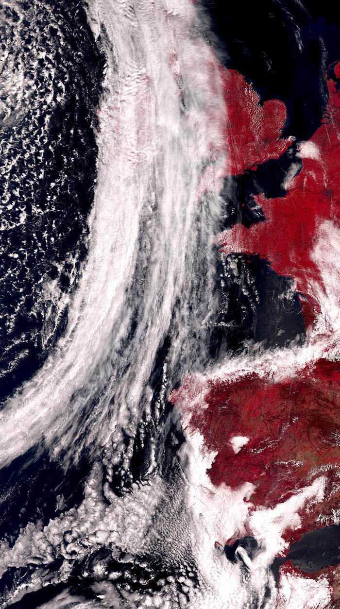 Imagen satélite de España en el infrarrojo