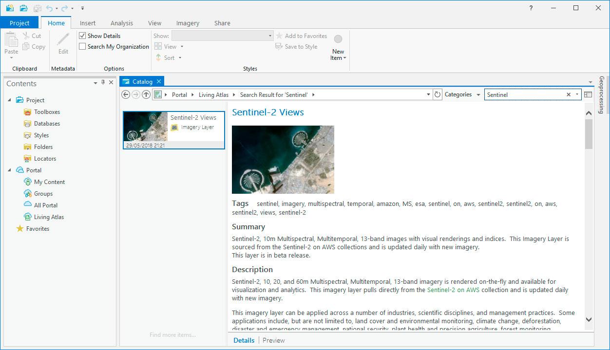 Living Atlas en el entorno de ArcGIS Pro