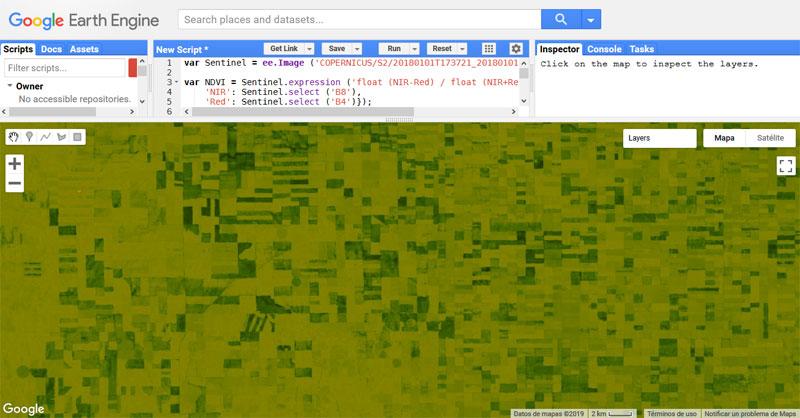 Cálculo de índices satélite en Google Earth Engine