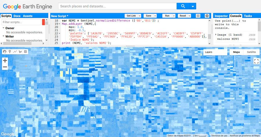 Cálculo de índices satélite NDMI en Google Earth Engine