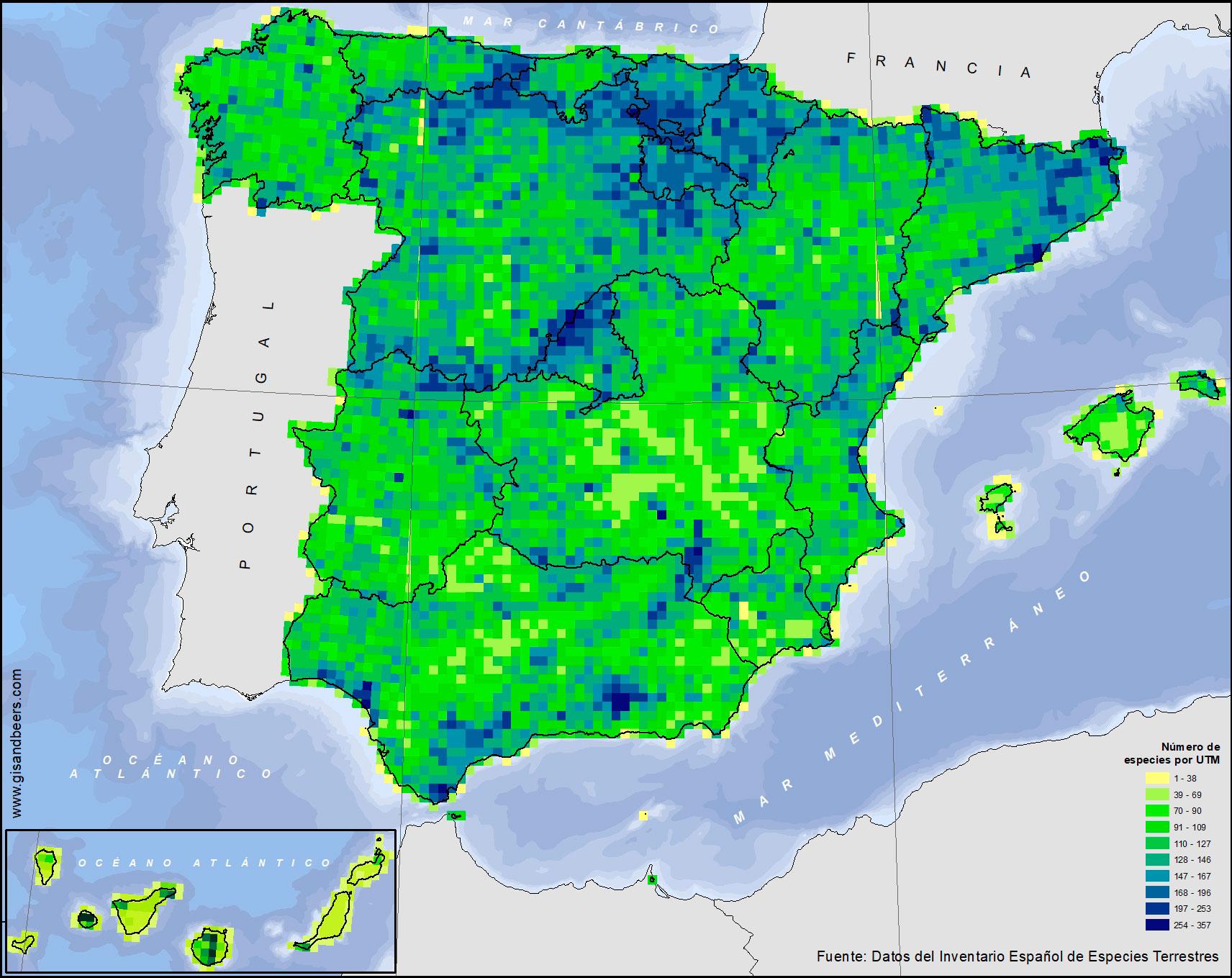 Mapa de distribución de la biodiversidad en España IEET