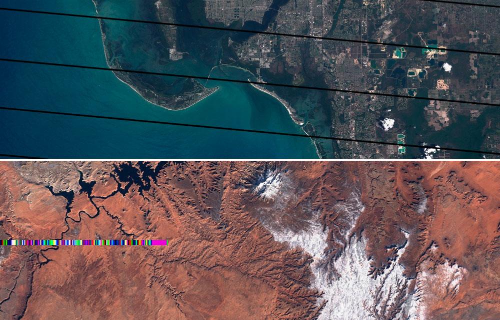 Bandeado y corrección radiométrica de imágenes satélite
