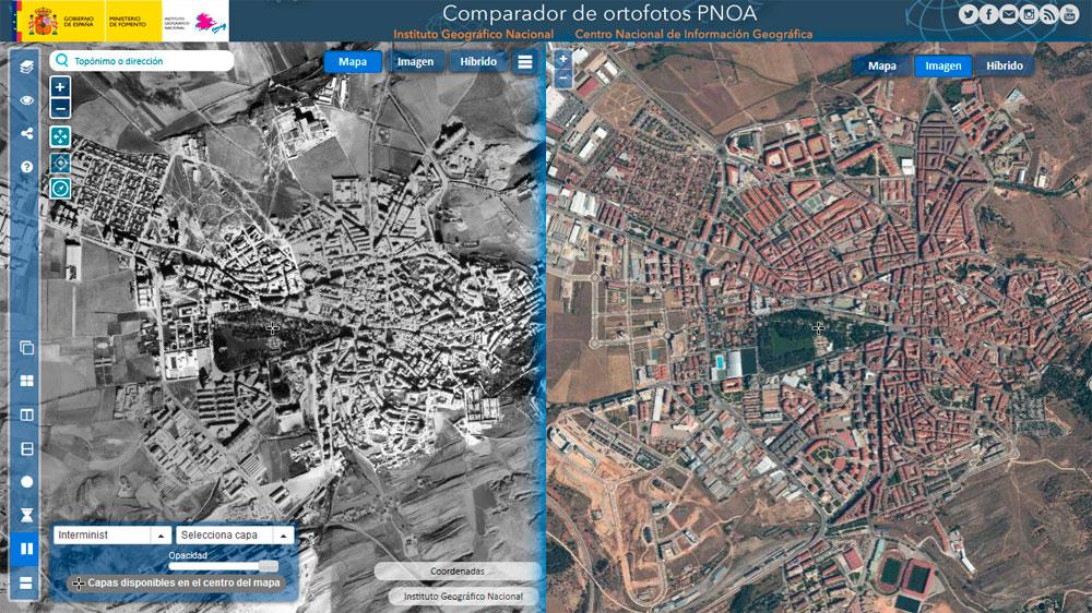 Comparar ortofotos temporales del PNOA