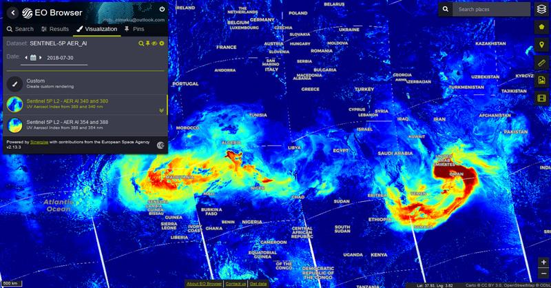 Imagenes satélite de datos atmosféricos Sentinel 5P