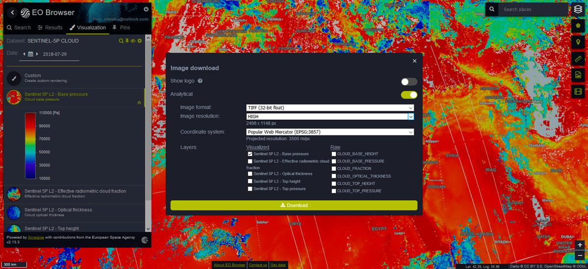 Disponibles los datos atmosféricos de Sentinel 5P