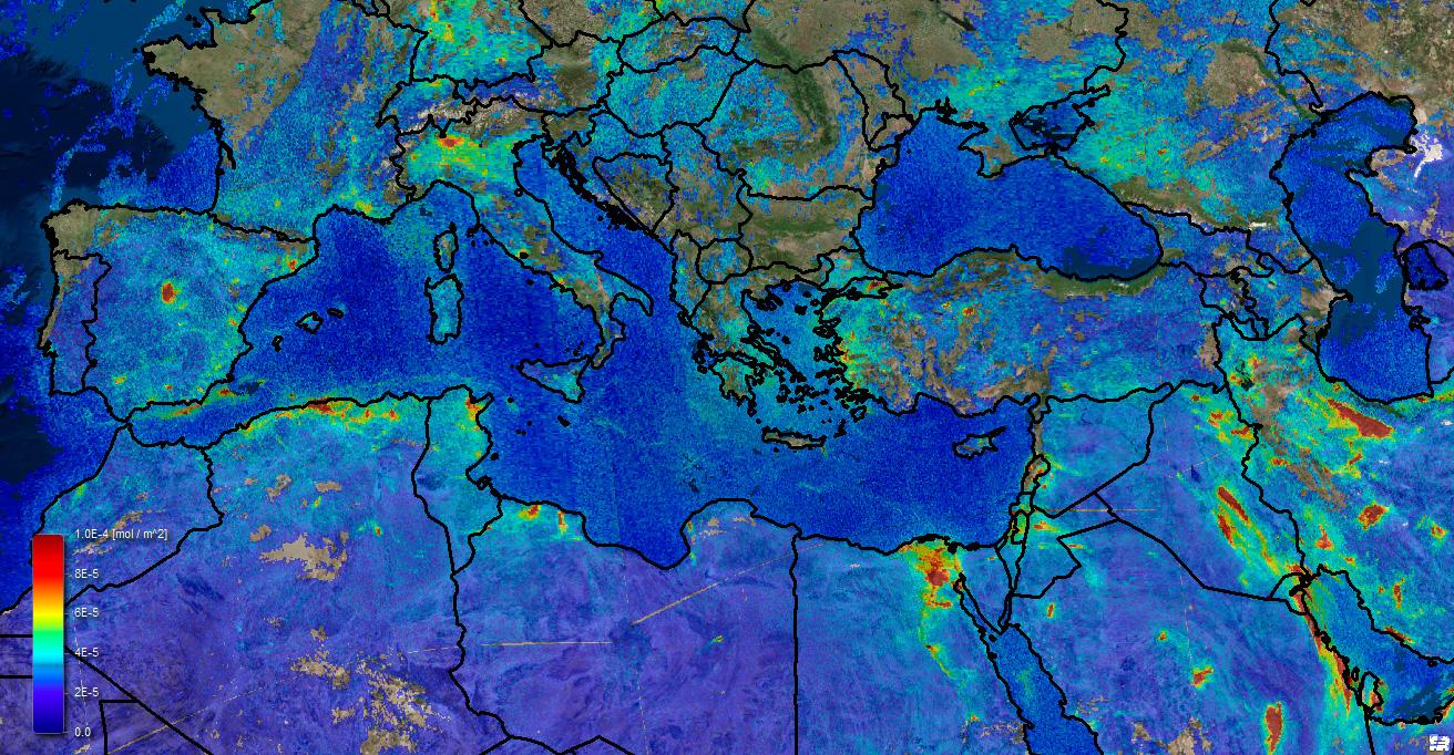Datos atmosféricos de Sentinel 5P