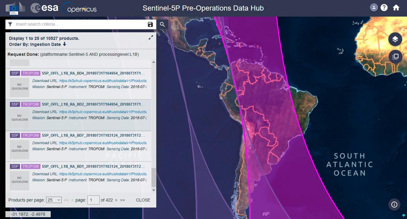 Descargar imágenes satélite Sentinel 5P para monitoreo de atmósfera