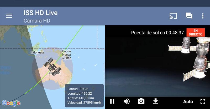 Visualizar la Tierra en tiempo real desde la ISS